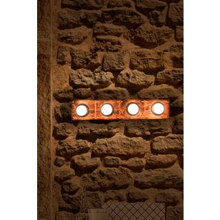 Fos Lighting Wooden Hollywood Vanity Light with Golden Studs