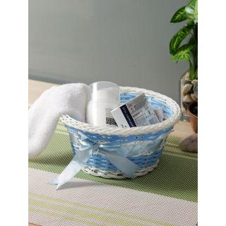 Aapno Rajasthan Blue  White Woven-Design Plastic Multipurpose Basket
