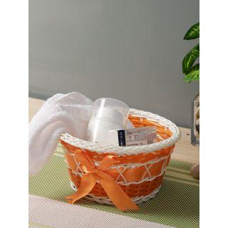 Aapno Rajasthan Orange  White Self Design Multipurpose Basket
