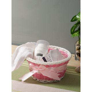 Aapno Rajasthan Pink  White Textured Multipurpose Basket