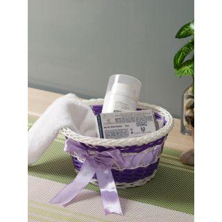 Aapno Rajasthan Purple  White Woven-Design Plastic Multipurpose Basket