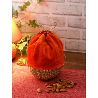 Aapno Rajasthan Orange  Gold-Toned Woven-Design Fabric Multipurpose Basket