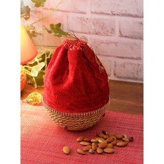 Aapno Rajasthan Red Self-Design Fabric Multipurpose Basket