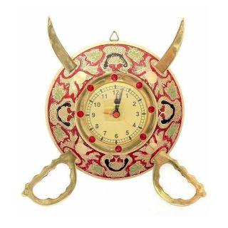eCraftIndia Armoured Royal Brass Handcrafted Wall Clock (BAWC901)