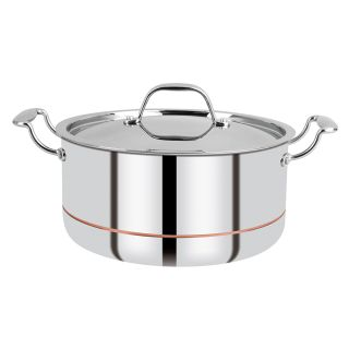 Bergner Argent 5CX 5-Ply Stainless Steel Casserole with Lid,Induction Base, 24 CM (4.9ltr)