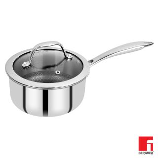 Bergner Hitech Prism Non-Stick Stainless Steel Saucepan With Glass Lid, 14 cm, 1 Litres. Induction Base, Silver