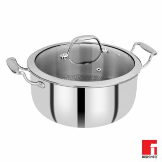 Bergner Hitech Prism Non-Stick Stainless Steel Casserole With Glass Lid, 24 cm, 5.3 Litres. Induction Base, Silver
