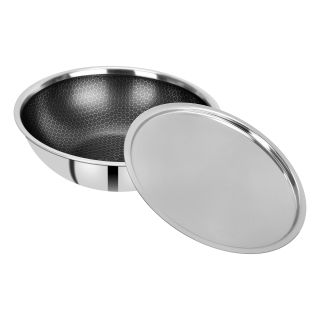 BERGNER Hitech Prism Non-Stick Stainless Steel Tasra with Stainless Steel Lid, 22 cm, 2.25 litres, Induction Base, Silver