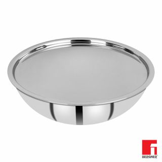 Bergner Hitech Prism Non-Stick Stainless Steel Tasra with Stainless Steel Lid, 24 cm, 2.25 litres, Induction Base, Silver