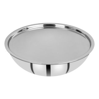 Bergner Hitech Prism Non-Stick Stainless Steel Tasra with Stainless Steel Lid, 28 cm, 3.9 litres, Induction Base, Silver