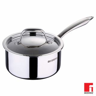 Bergner Argent Triply Stainless Steel Saucepan with Stainless Steel Lid, 16 cm, 1.6 Litres, Induction Base, Silver