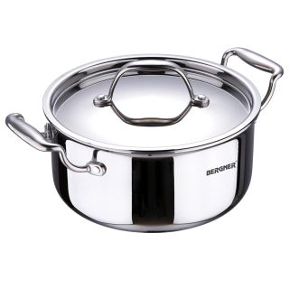 Bergner Argent Triply Stainless Steel Casserole with Stainless Steel Lid, 22 cm, 4.1 Litres, Induction Base, Silver