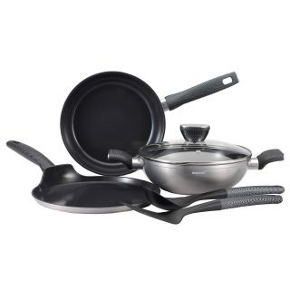 Bergner Carbon TT Forged Alluminium Non Stick 6pc Cookware Set, Induction Base, Silver