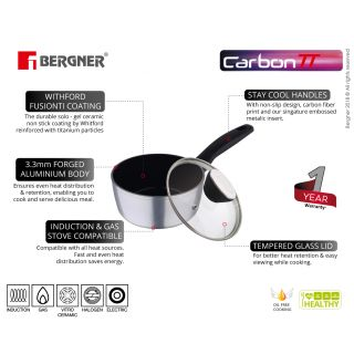 Bergner Carbon TT Forged Aluminium Non-Stick Saucepan with Glass Lid, 16 cm, 1.3 Liters, Induction Base, Metallic Grey