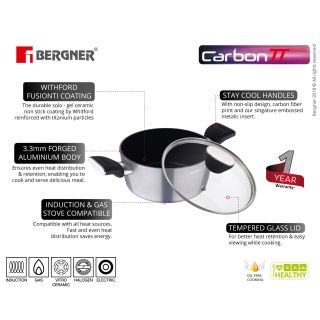 Bergner Carbon TT Forged Aluminium Non-Stick Casserole with Glass Lid, 20 cm, 2.6 Liters, Induction Base, Metallic Grey
