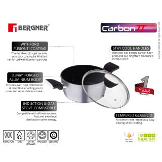 Bergner Carbon TT Forged Aluminium Non-Stick Casserole with Glass Lid, 28 cm, 6 Liters, Induction Base, Metallic Grey