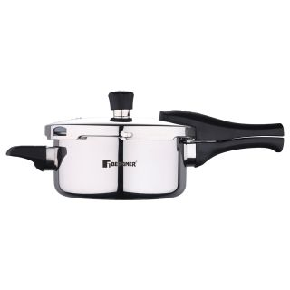Bergner Argent Elements Triply Stainless Steel Pressure Cooker with Outer Lid, 2.5 Ltrs, Silver