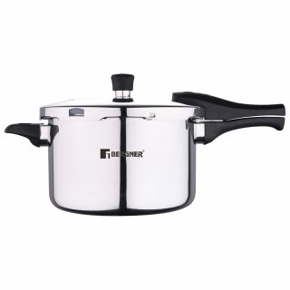 Bergner Argent Elements Triply Stainless Steel Pressure Cooker with Outer Lid, 5.5 Ltrs, Silver