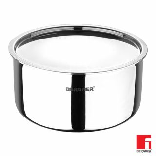 Bergner Argent Triply Stainless Steel Tope with Stainless Steel Lid, 14 cm, 1 Litres, Induction Base, Silver
