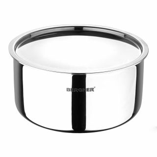 Bergner Argent Triply Stainless Steel Tope with Stainless Steel Lid, 22 cm, 4 Litres, Induction Base, Silver