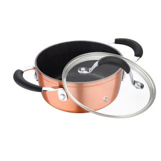Bergner Infinity Chefs Forged Aluminium Non Stick Casserole with Glass Lid, 16 cm, 1.3 Litres, Induction Base, Copper