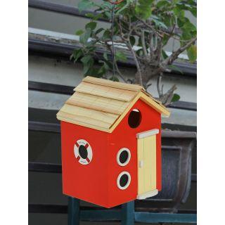 Red Wooden Bird House(BH18382RE)