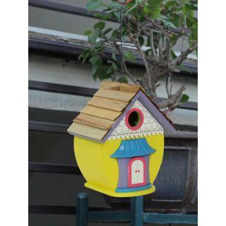 Yellow Wooden Bird House(BH18385YE)