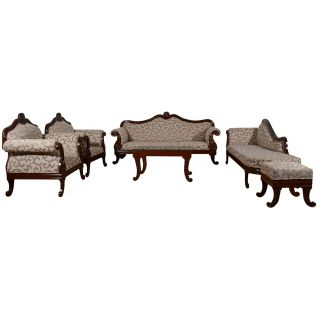 Carving Art Sofa Set in solid wood (3+1+1+center table+puffy+cleopatra)