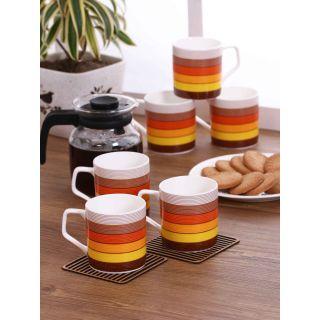 Clay Craft Multicolored Fine Ceramic Director Series Coffee/Tea Mugs Set of 6(CM-DIRECTOR-HILTON-391)