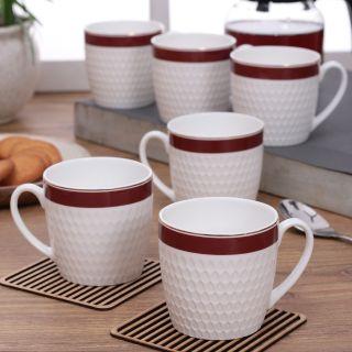 Clay Craft Impression Fine Ceramic series Coffee/Tea Mugs Set of 6(CM-OLIVE-IMPRESSION-1122)
