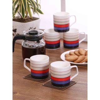 Clay Craft Multicolored Fine Ceramic Director Series Coffee/Tea Mugs Set of 6(CM-DIRECTOR-HILTON-389)