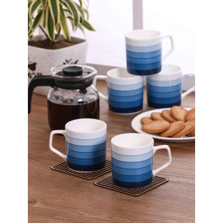 Clay Craft Multicolored Fine Ceramic Director Series Coffee/Tea Mugs Set of 6(CM-DIRECTOR-HILTON-392)