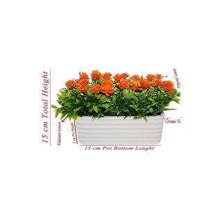 Artificial Orange Color Wild Flower Arrangement With White Ceramic Pot. (109)