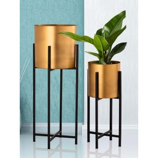 Set of 2 Golden Colored Metal Planters