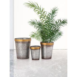 Set of 3 Brass Strip Metal Planters