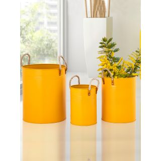 Set of 3 Mango Yellow Metal Planters with Rope Loops
