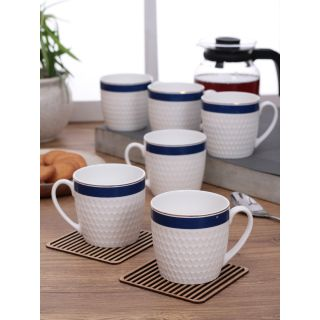 Clay Craft Impression Fine Ceramic series Coffee/Tea Mugs Set of 6(CM-OLIVE-IMPRESSION-1121)