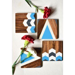 Wooden Chevron Coasters - Bright Blue