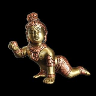 Crawling Krishna - Brass Copper
