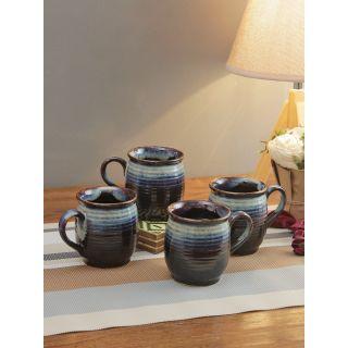 Dark Grey Texured Ceremic Tea Cups Set of Six Pcs-6