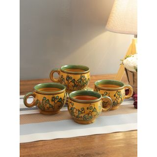 Yellow Printed Solid Ceremic Tea Cups Set of Six Pcs-6