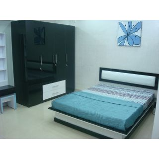 Dublin Queen Bed with 1-Side Table with 4-Door Wardrobe & 1 Dresser with Stool