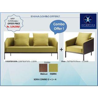 Emma Leisure Chair + Emma 3 Seater Sofa Fabric