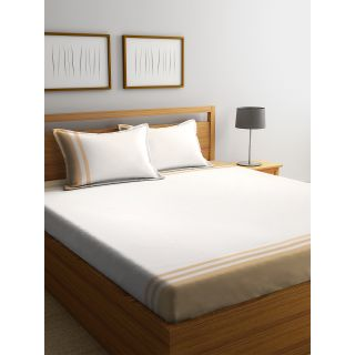 Eyda 100% Cotton Off White Super King Size Bed Sheet with 2 Pillow Cover(EydaDBS02)