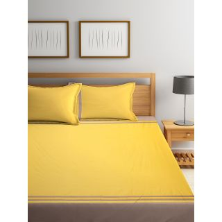Eyda 100% Cotton Yellow Color Super King Size Bed Sheet with 2 Pillow Cover(EydaDBS03)