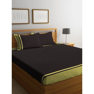 Eyda 100% Cotton Choco Brown Color Super King Size Bed Sheet with 2 Pillow Cover(EydaDBS04)