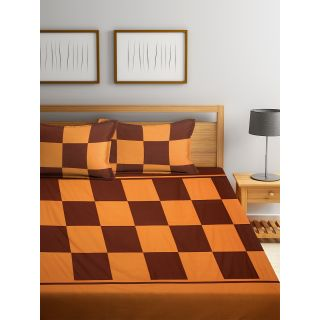 Eyda 100% Cotton Check Pattern Super King Size Bed Sheet with 2 Pillow Cover(EydaDBS05)