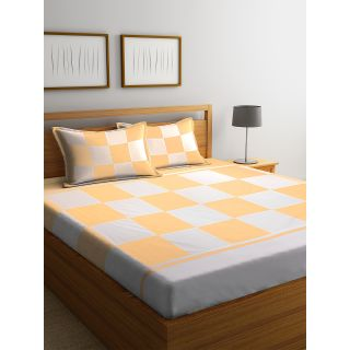 Eyda 100% Cotton Check Pattern Super King Size Bed Sheet with 2 Pillow Cover(EydaDBS06)