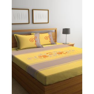 Eyda 100% Cotton Embroidered Super King Size Bed Sheet with 2 Pillow Cover(EydaDBS08)