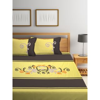 Eyda 100% Cotton Embroidered Super King Size Bed Sheet with 2 Pillow Cover(EydaDBS09)